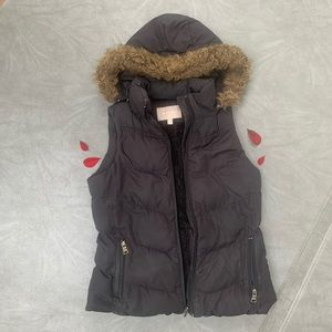 Banana Republic Black Fur-Line Puffer Vest